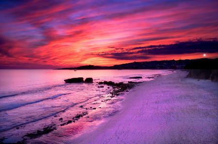 Картинки море, небо, закат, берег
