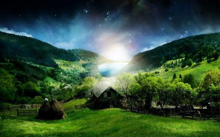 Картинки Холмы, лес, дом, стог