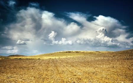 Обои Небо, Облака, Пейзаж, Поле