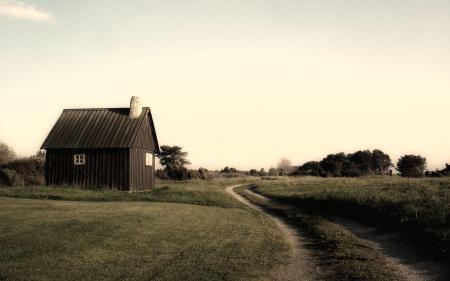 Картинки дом, дорога, трава, поляна
