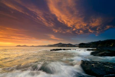 Фотографии море, небо, закат, скалы