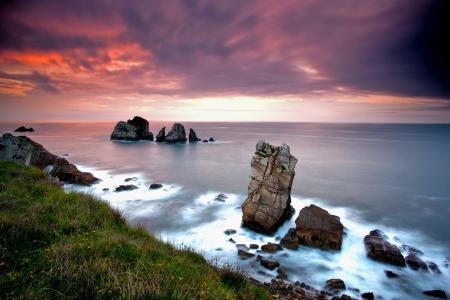 Обои море, скалы, небо, закат