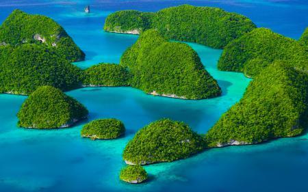 Заставки Rock island Palau, море, острова, зелень