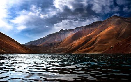 Обои озеро, горы, небо, облака