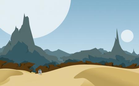 Обои планета, татуин, небо, горы
