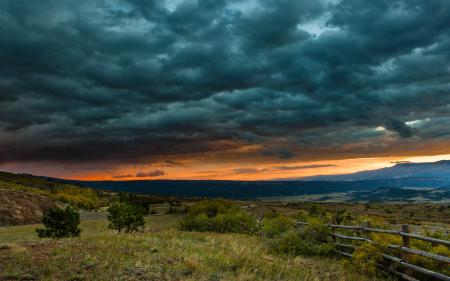 Картинки небо, закат, долина, природа