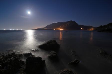 Обои ночь, пейзаж, луна, горы