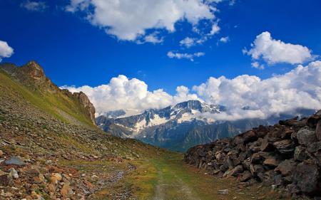 Заставки Горы, Альпы, камни, дорога