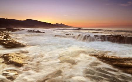 Заставки закат, море, камни, скалы
