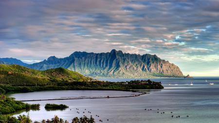 Картинки пейзаж, море, горы, пальмы