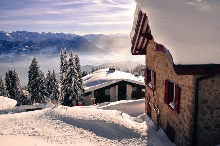 Фотографии зима, горы, дома