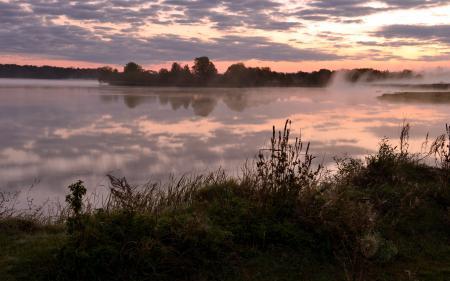 Картинки закат, река, туман, пейзаж