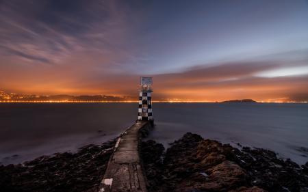 Фото море, ночь, маяк, пейзаж