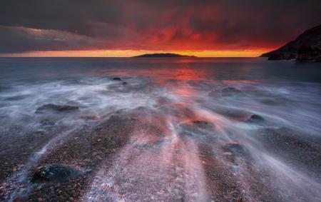 Заставки море, пляж, камни, галька