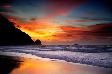 Картинки закат, море, волны, берег