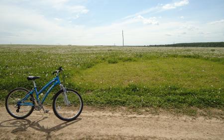 Заставки велосипед, лето, поле, трава