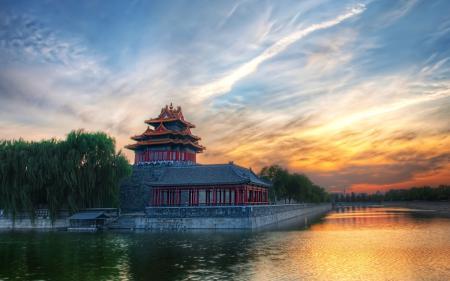 Обои пекин, китай, здание, закат