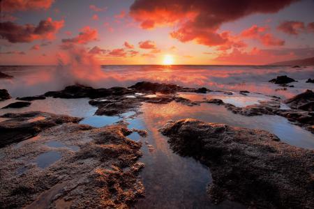 Заставки небо, закат, море, брызги