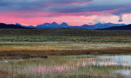 Фотографии горы, долина, розовое, утро