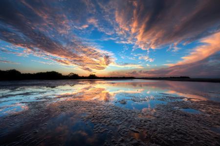 Фото небо, озеро, отражение, облака