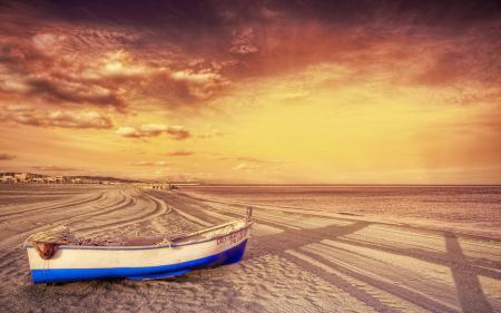 Фото море, пляж, лодка, небо