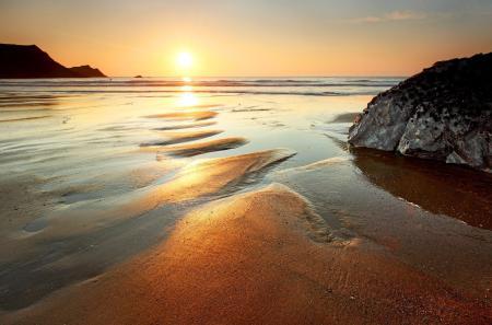 Обои море, пляж, солнце, золото