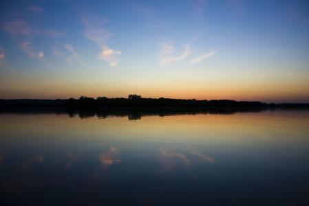Фото закат, вода, берег, река