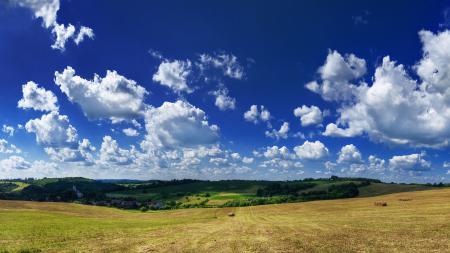 Фотографии небо, облака, поле, сено