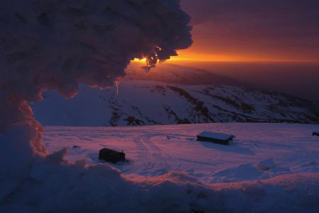 Заставки снег, зима, восход, солнце