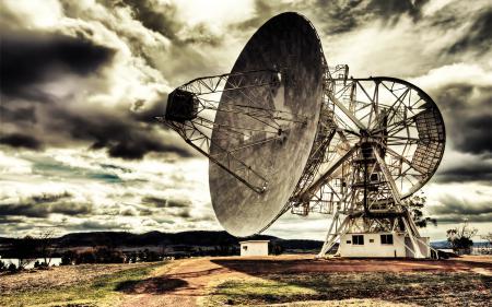Фото радар, будка, тучи, hdr