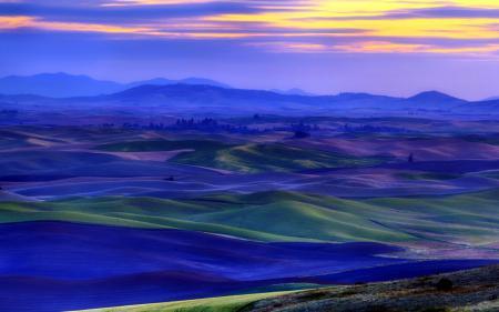 Обои закат, поле, пейзаж