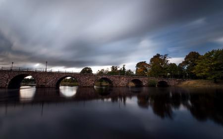 Обои река, мост, пейзаж