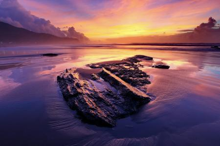 Заставки закат, море, камни, пейзаж