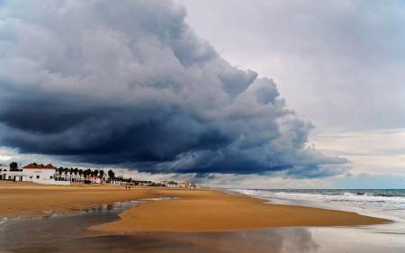 Заставки море, песок, пляж, туча
