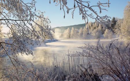 Заставки река, зима, природа, пейзаж