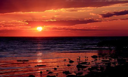 Обои солнце, закат, красный, море