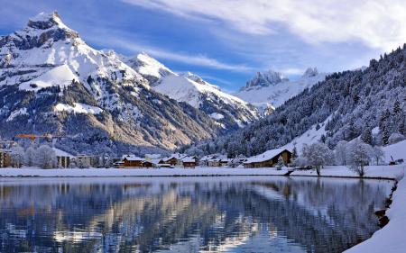 Обои Switzerland, Canton of Obwalden, Engelberg, озеро