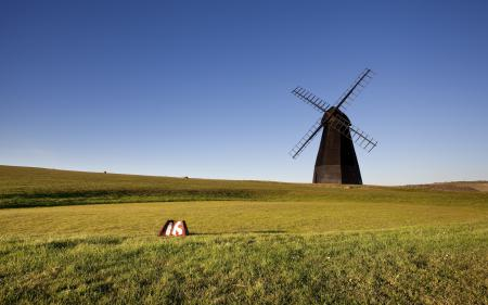 Картинки мельница, поле, пейзаж
