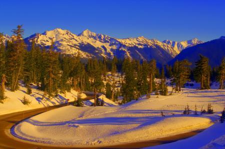 Заставки зима, горы, дорога, природа