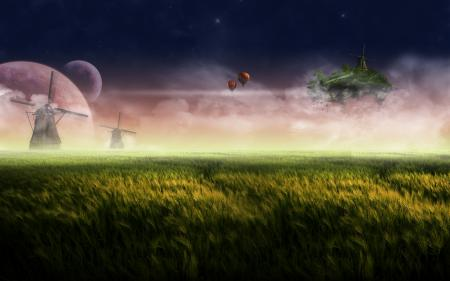 Фото летучий, остров, мельницы, трава