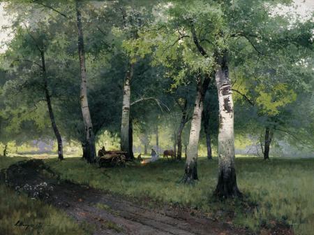 Фотографии Шильдер, Березовый лес, картина