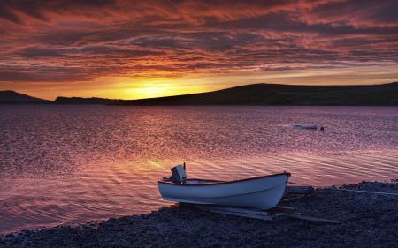 Заставки море, закат, лодка, побережье