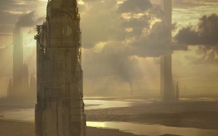 Обои небоскребы, облака, закат, река