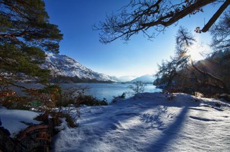 Заставки зима, озеро, гора, лес