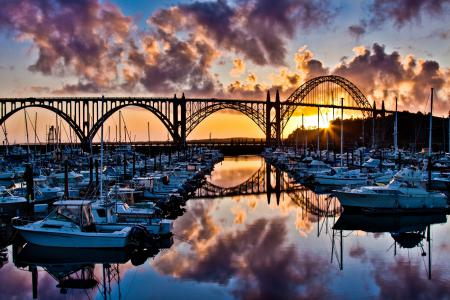Фото облака, лодки, мост, отражение