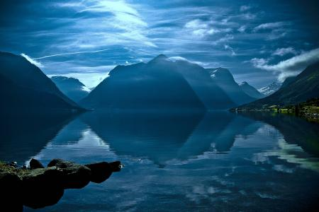 Фотографии горы, озеро, небо, облака