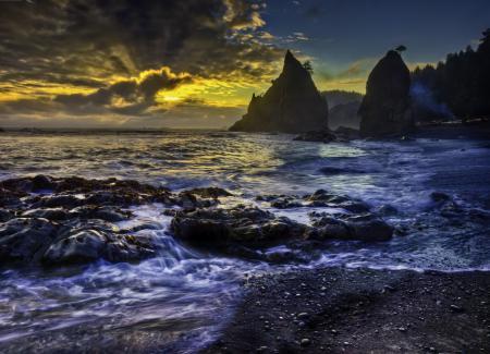 Картинки море, пляж, закат, облака
