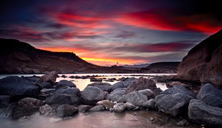 Фото закат, скалы, камни, вода
