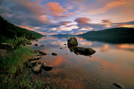 Заставки горы, закат, камни, озеро