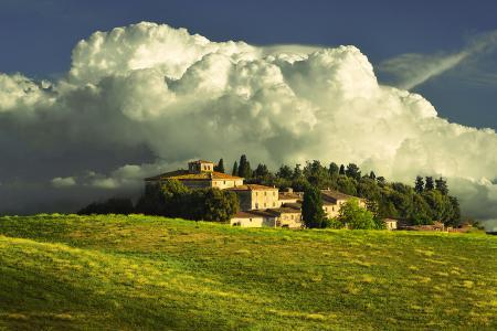 Заставки небо, облака, дом, усадьба